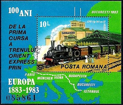 Romania 1983 Orient Express Train Steam Railway Station Route/Maps Transport MNH