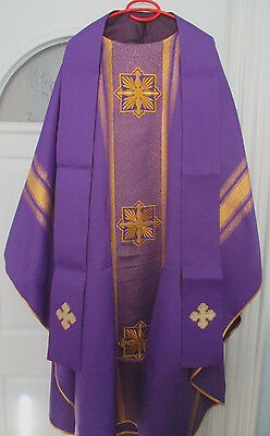 NEW-Purple Chasuble w/Gold accent lines & Matching Stole-Priest-Holy Mass-Lent