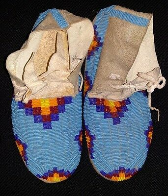 Sioux Blue Beaded Hide Moccasins