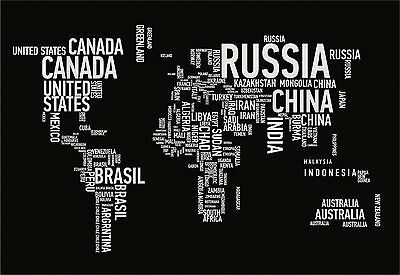 Art Print Poster / Canvas  World Map Country Countries Names Typography Colorful