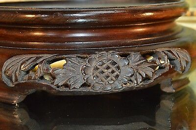 Antique Beautifully Carved Wooden Hardwood Vase Bowl Stand Plinth