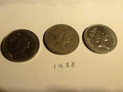 1988 Large 5p Coin X3