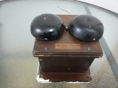 Antique Wooden Telephone Box with 2 Bell Ringers NORTHERN ELECTRIC COMPANY