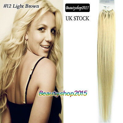 20inch 100% Real Human Hair Extensions Straight Micro Loop 100s/50g Blonde #24