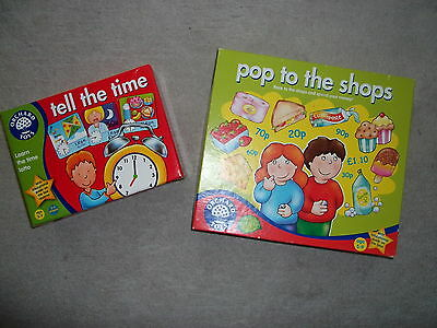 2 Orchard Toys Educational Games Bundle Time Counting Numbers Money Pop To Shops