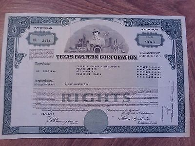 Texas Eastern Corporation - Rights 100 Share Stock Certificate