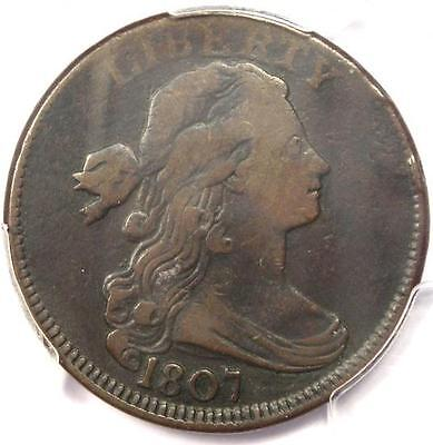 1807 Draped Bust Large Cent 1C Large Fraction - PCGS F15 - Rare Certified Coin