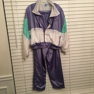 ELLESSE Vtg 80's TRACK SUIT Pants/Jacket Purple teal NYLON Full Zip sz 2