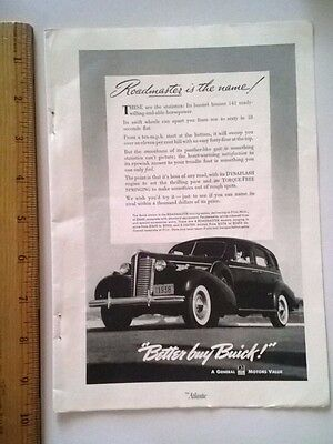"""1938 Print Ad Buick Roadmaster 141 horsepower """"ten to sixty in 18 seconds flat""""!"""