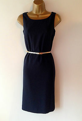 Navy Pinstripe Shift Pencil Wiggle Evening Work Business Dress Party Size 10 12