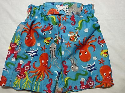 12 months boys swim shorts/trunks upf 50 protection with drawstring Blue Fish