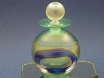 Isle of Wight  Iridescent GOLDEN PEACOCK – ROYALE – Pale Green PERFUME Bottle