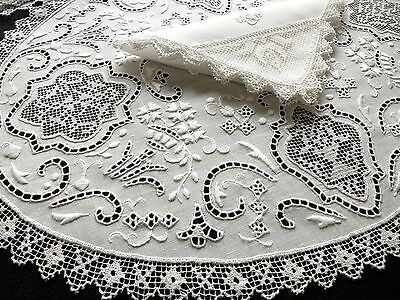 Antique Handmade LACE & EMBROIDERY 24 pc Placemat Napkin Set Linen White WEDDING