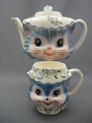 Enterprise Japan Blue Cat Figural Tea Pot Teapot 4 Cup Flower Lid & Cup Mug