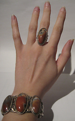 Vintage Navajo Indian Silver Petrified Wood Cuff Bracelet & Ring Set