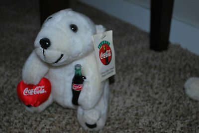 """coca cola brand plush collection bear 8"""" with tag"""