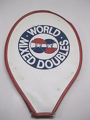 RARE Vintage WORLD MIXED DOUBLES Tennis Racquet Red White & Blue Cover Retro Art