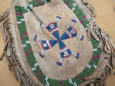 Very Old Plains Indian Beaded Deerskin Leather Pouch - Native American Bag