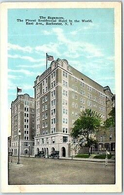 Rochester, New York Postcard The Sagamore Residential Hotel, Street View c1930s