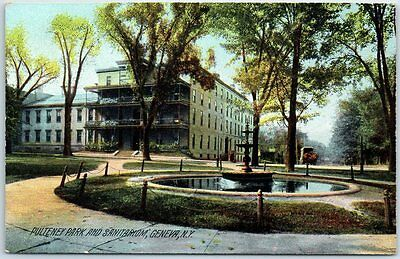 "Geneva, New York Postcard ""Pulteney Park and Sanitarium"" Fountain View c1910s"