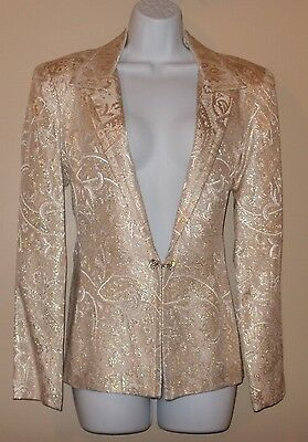 PATRA Women's Vintage Blazer Cream with Gold Metallic Design Jacket Size 12