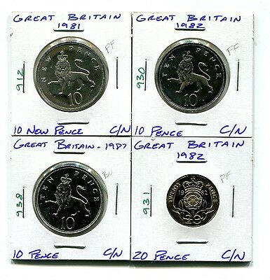 Great Britain : Lot of 4 different Proof and Uncirculated coins 1981 - 1987