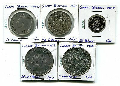 Great Britain : Lot of 5 different coins 1948 - 1987