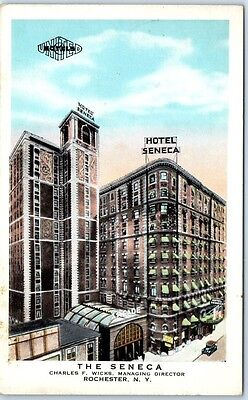 Rochester, New York Postcard THE SENECA Hotel Building, Street View c1930s