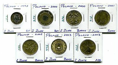 Poland : Lot of 7 different Uncirculated 2 Zlote coins  1995 - 2003