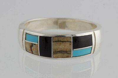 Native American Navajo Sterling Silver Turquoise Creek Inlay Ring 11
