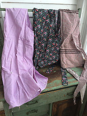 Lot of 3 Vintage Full Smock Style Aprons Cotton Gingham check Floral Ric-Rac #4