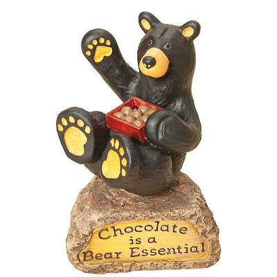"Bearfoot Bears ""Chocolate is Bear Essentials"" figurine by Big Sky Carvers"