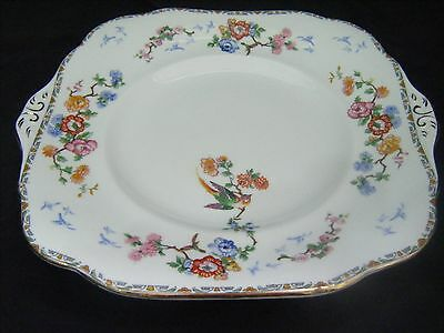 Rare Early 1900's Vintage Grafton China Cake Plate -Floral with Bird of Paradise
