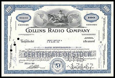 Collins Radio Company 1960s BLUE 100 Shares Common Stock Certificate F/VF+