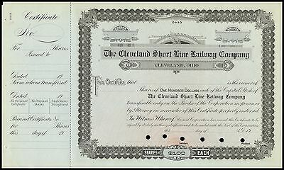 19xx Cleveland Short Line Railway Company Unissued Stock Certificate VG+
