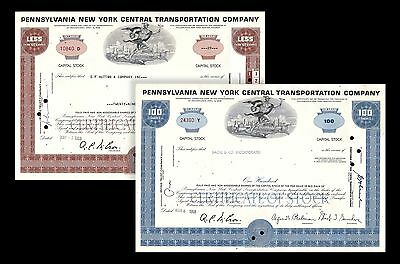 1968 Penn Central Railroad Two Piece Stock Certificate Set No Overprints Cond F+