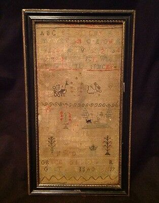Antique 18th Century Needlepoint Cross Stitch Scotland Sampler Dated 1798 Signed