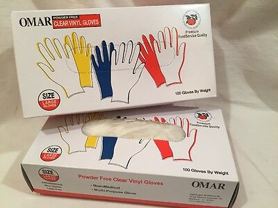 Omar Powder Free Clear Vinyl Food Service Gloves Qty 180 Size Large
