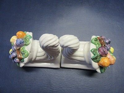 Pair of Ceramic bookends with fruit ends