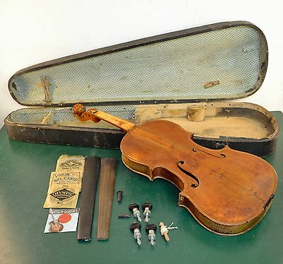 Antique PAGANINI Violin Signed restoration by W.R Vaughn 1905 for parts/repair