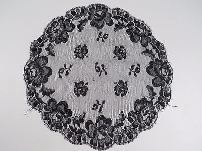 Antique Handmade Black Lace Round Doily Table Cloth Linen