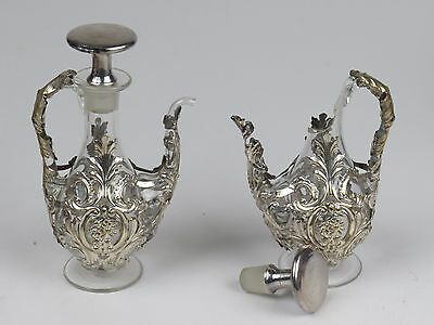 Antique Silverplate Encased Cruet Set Stopper Handblown Glass Crystal Decanter