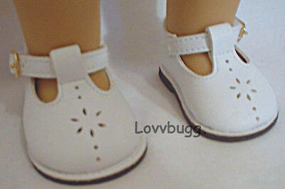 "White T Strap Mary Janes for American Girl 18"" Doll Shoes Clothes TRUE US SELLER"
