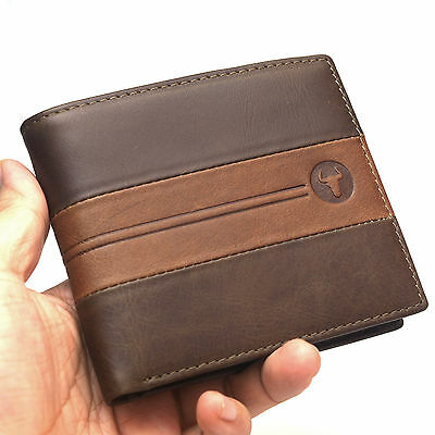 Vintage Leather Wallets Mens Credit Card Holder Wallet ID Photos Window Purse