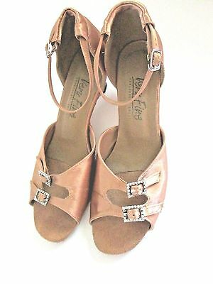 Very Fine Ballroom Bronze Pink Satin Dance Shoes with Jeweled Buckles- Size 8