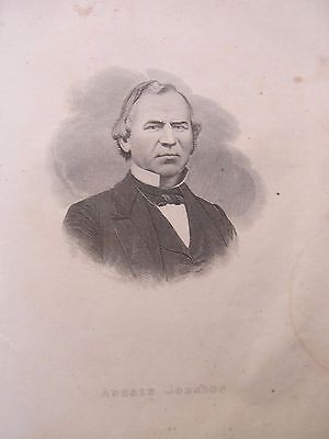 Antique Civil War Period Engraved Photo Portrait, President ANDREW JOHNSON, 1865