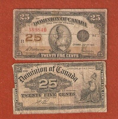 2 Dominion of Canada Twenty Five Cent Bank Notes (1923 & 1900) L346