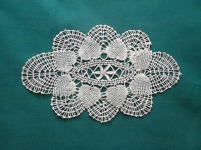 Antique Small Oval Off White Crocheted Doily