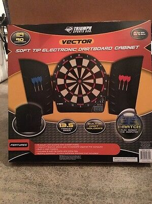 NEW Triumph Sports USA Vector Electronic Dartboard and Cabinet Set