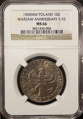 Poland 10 Zlotych 1965 NGC MS 66 UNC Warsaw Anniversary  Y-55 Copper Nickel